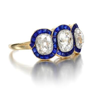 View 2. Thumbnail of Lot 43. Sapphire and diamond ring, circa 1915.