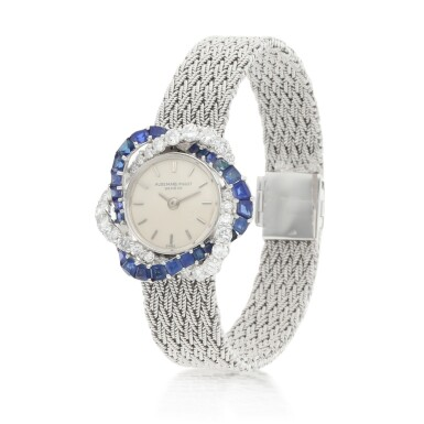 View 2. Thumbnail of Lot 8061. Audemars Piguet | Reference 9566, A white gold, diamond and sapphire-set bracelet watch, Circa 1960 | 愛彼 | 型號9566   白金鑲鑽石及藍寶石鏈帶腕錶,約1960年製.