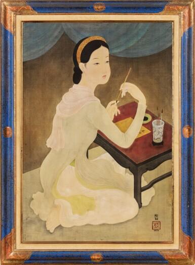 View 2. Thumbnail of Lot 1028. Mai Trung Thu 梅忠恕   Lady Writing a Poem 作詩的仕女.