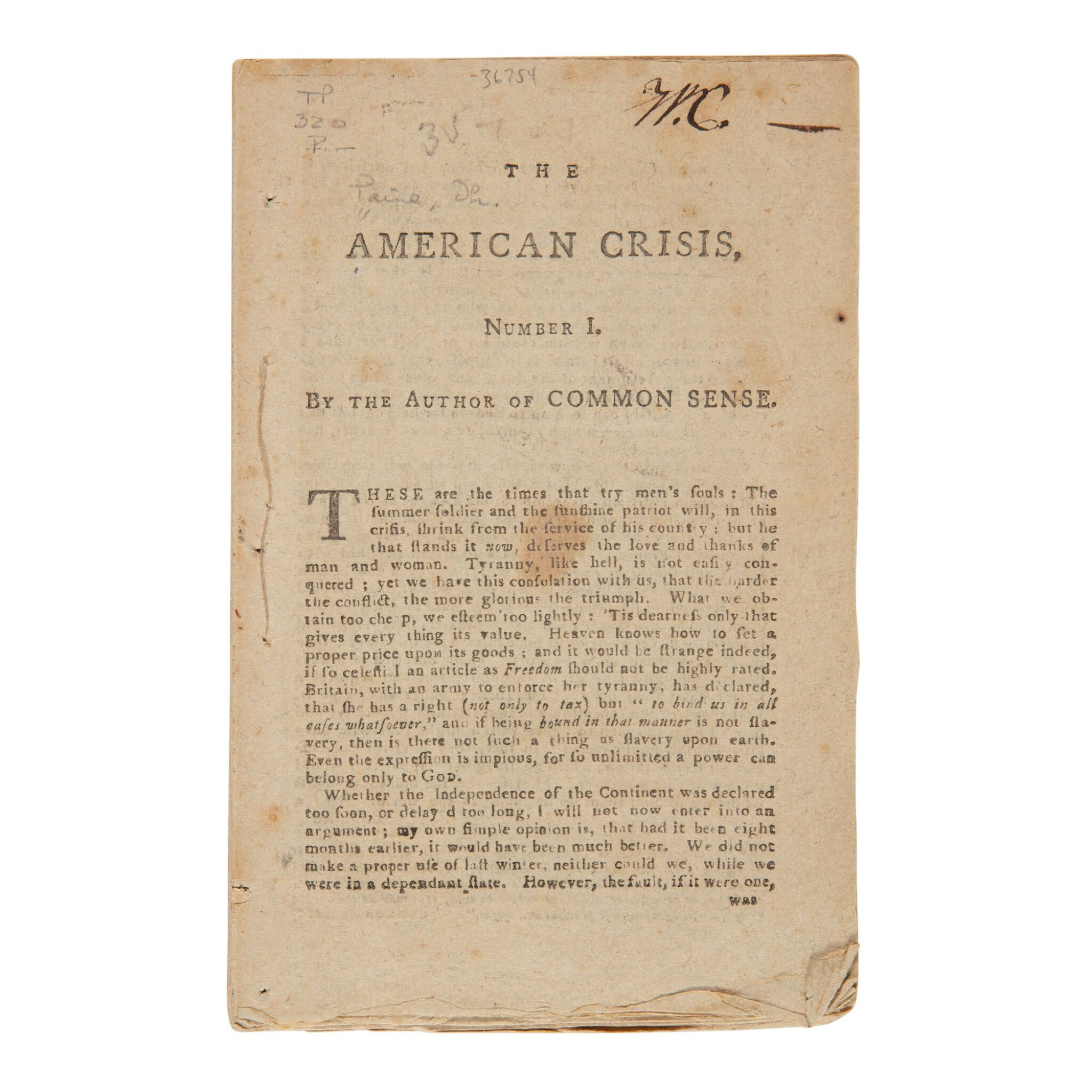 """View full screen - View 1 of Lot 362. (Paine, Thomas) 