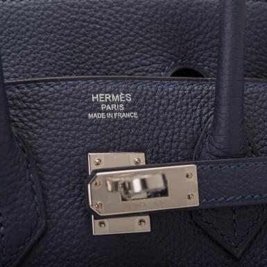View 6. Thumbnail of Lot 4. Hermès Bleu Nuit Birkin 25cm of Togo Leather with Palladium Hardware.
