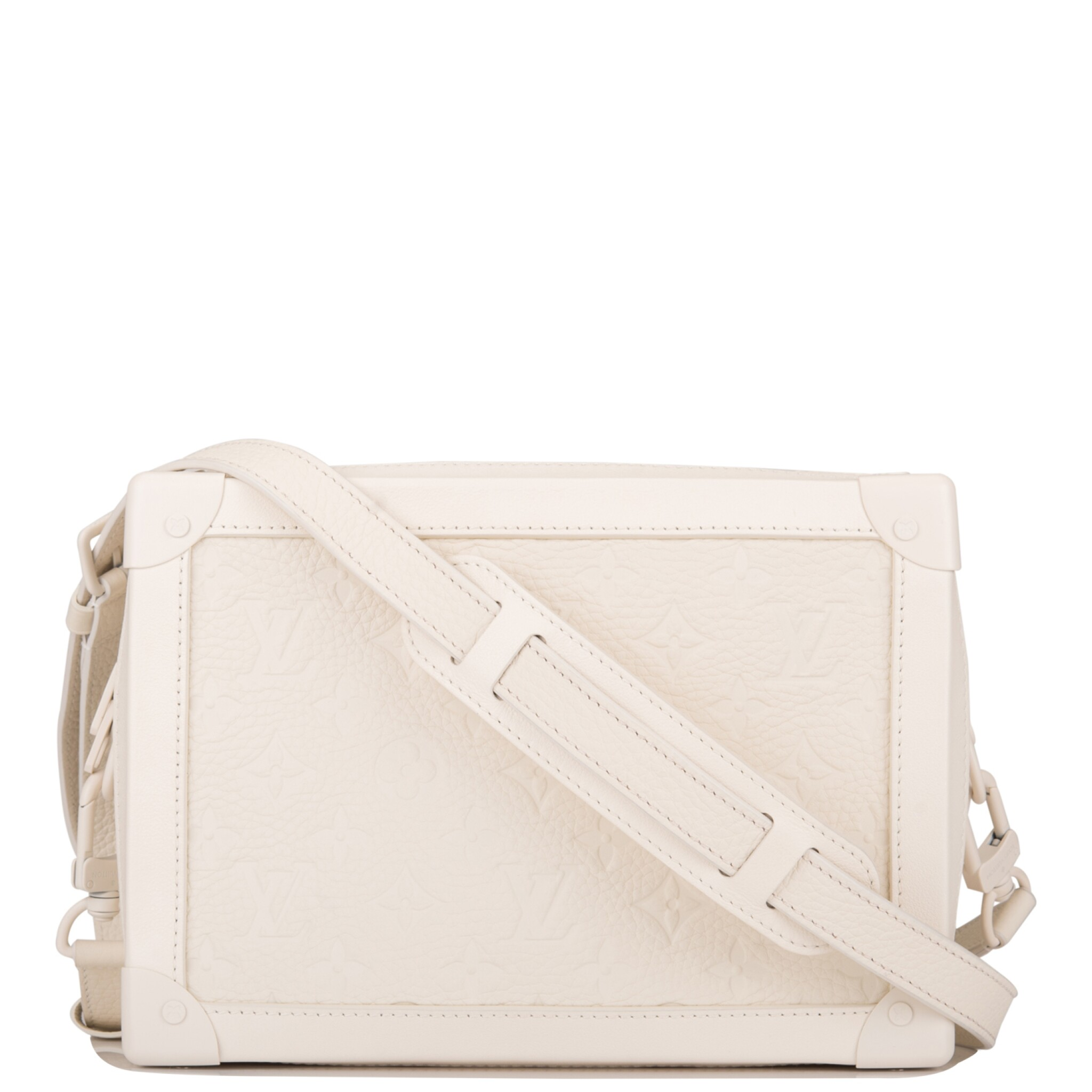 View full screen - View 1 of Lot 85. Louis Vuitton x Virgil Abloh White Soft Trunk Bag of Taurillion Monogram Leather with White Hardware.