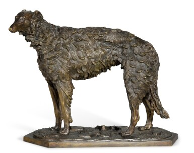 View 1. Thumbnail of Lot 294. Standing Borzoi: a bronze figure, after the model by Nikolai Lieberich (1828-1883), late 19th century.