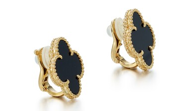 View 2. Thumbnail of Lot 9116. PAIR OF ONYX EAR CLIPS, 'MAGIC ALHAMBRA', VAN CLEEF & ARPELS | 縞瑪瑙耳環一對, Magic  Alhambra', 梵克雅寶(Van Cleef & Arpels).