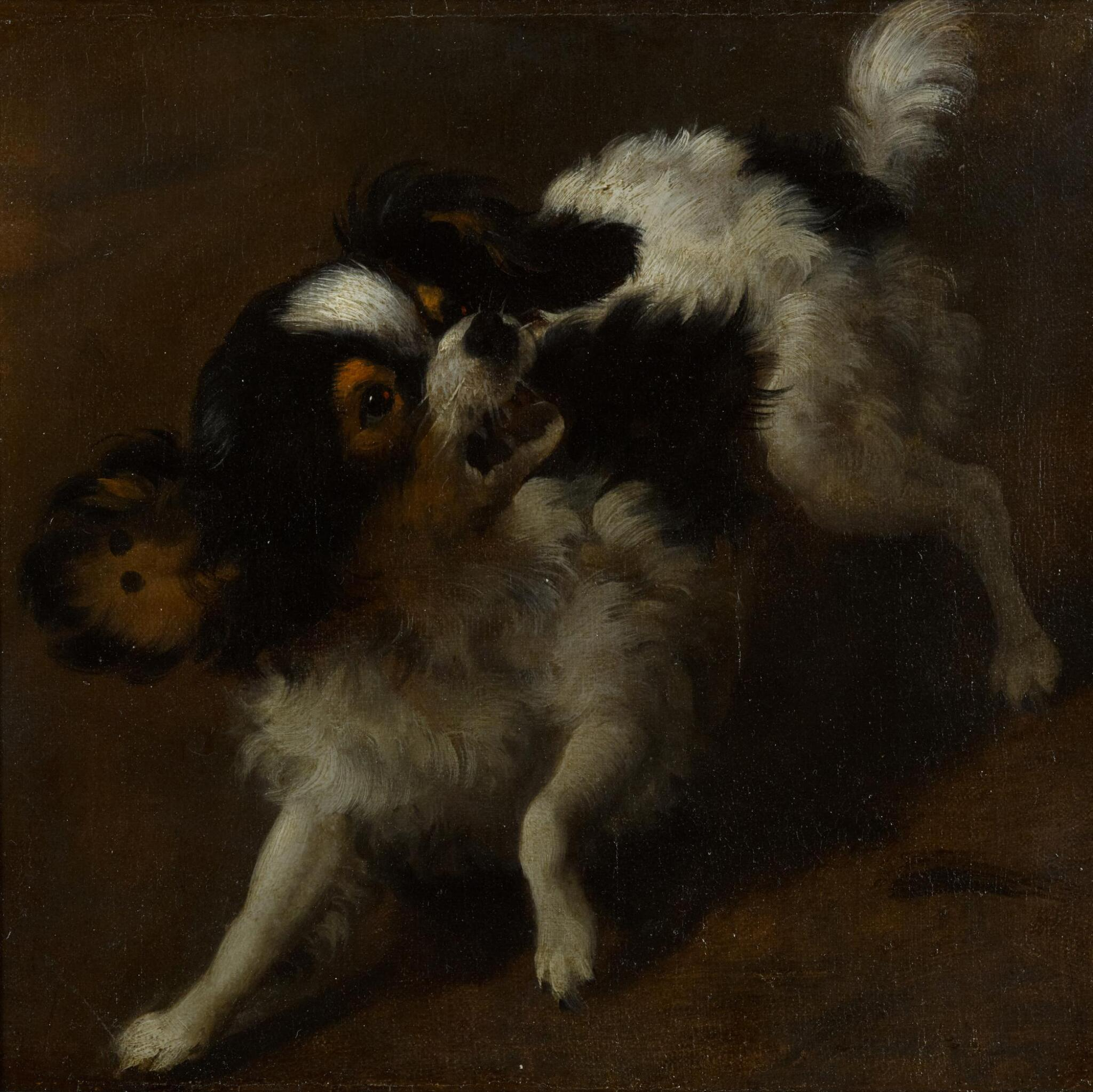View full screen - View 1 of Lot 6. DUTCH SCHOOL, 17TH CENTURY | A yapping King Charles spaniel.