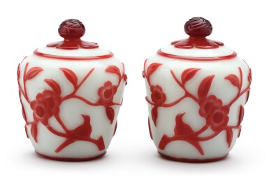 View 3. Thumbnail of Lot 1023. A PAIR OF RED OVERLAY WHITE GLASS JARS AND COVERS,  QING DYNASTY.