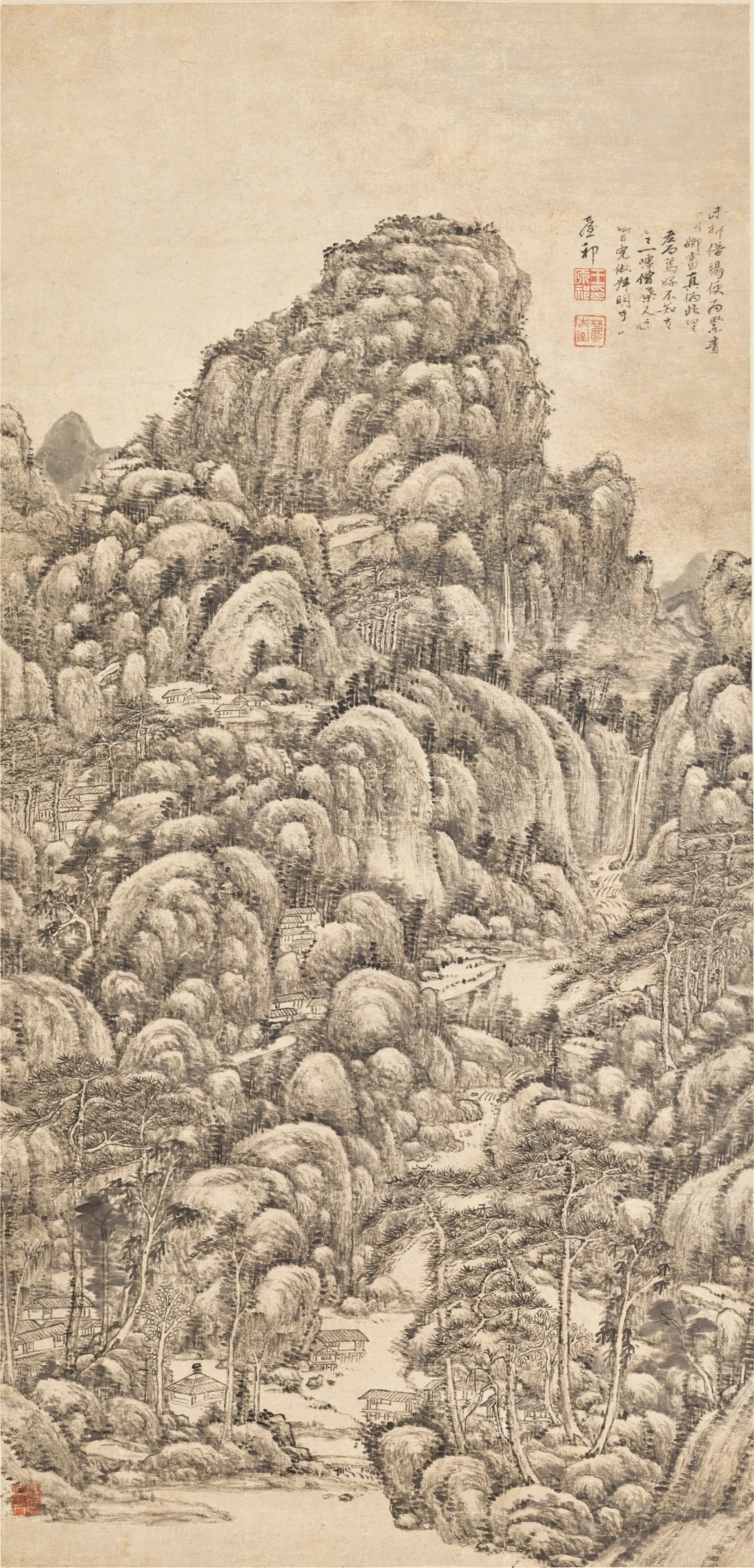 View full screen - View 1 of Lot 3078. Wang Yuanqi 1642 - 1715 王原祁 1642-1715   Landscape after Wang Meng 仿王蒙山水     .