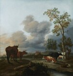 ANTHONIE VAN BORSSUM | A LANDSCAPE WITH COWS AND SHEEP RESTING UNDER A TREE, A HUNTSMAN AND HIS DOGS NEARBY, A RUINED CASTLE AND MOUNTAINS BEYOND