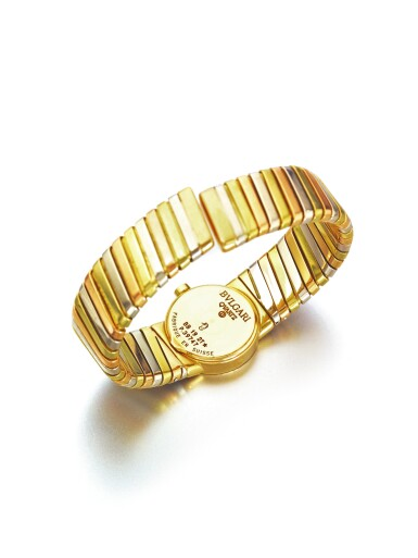 View 3. Thumbnail of Lot 43. BULGARI   REF BB 19 2T A LADY'S TRI COLOR GOLD TUBOGAS CUFF WATCH CIRCA 1985.