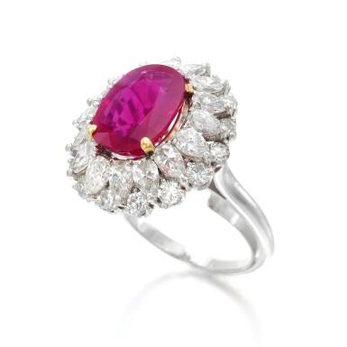 View 2. Thumbnail of Lot 663. Ruby and diamond ring | 紅寶石配鑽石戒指.