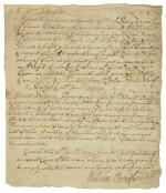 Bradford, William. Document signed, New York, 15 January 1729/30,