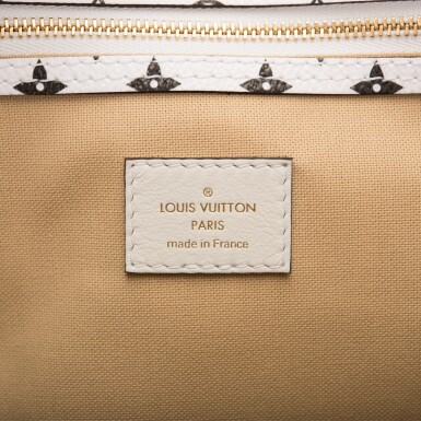 View 9. Thumbnail of Lot 121. Louis Vuitton Khaki Green Keepall Bandoulière 50 of Giant Monogram Canvas with Polished Brass Hardware .