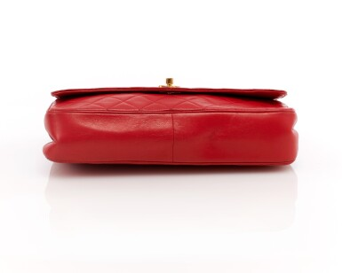 View 3. Thumbnail of Lot 69. Red quilted leather and gold-tone metal chain shoulder bag.