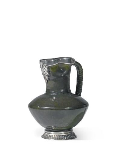 A Fabergé silver-mounted ceramic jug, workmaster Julius Rappoport, St Petersburg, circa 1890