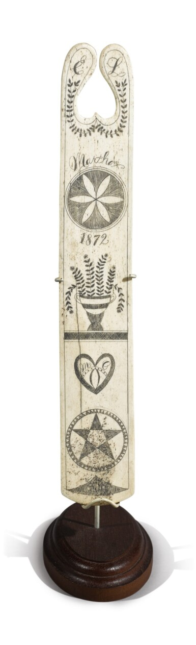 Heart-Pierced and Engraved Scrimshaw Whalebone Busk, Probably New England, dated 1872