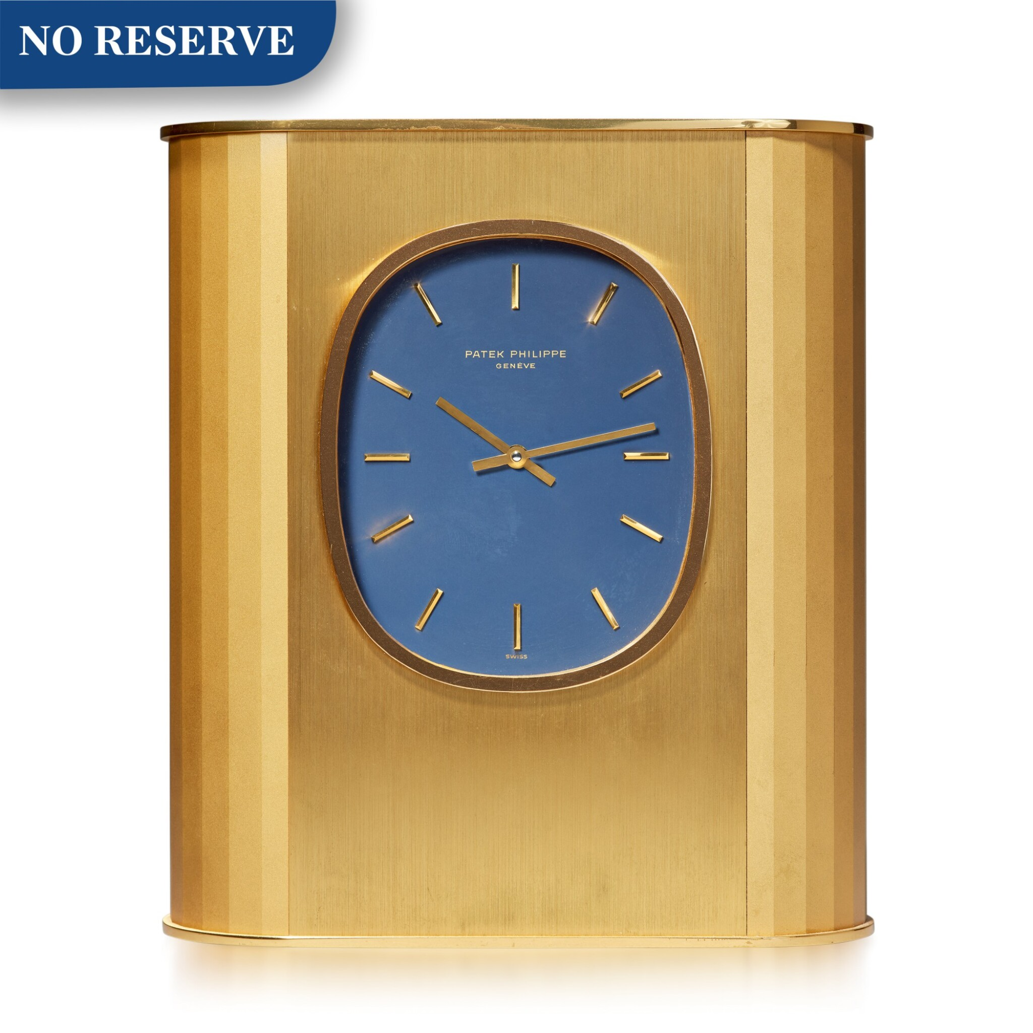 REFERENCE 1505 ELLIPSE D'OR SOLAR A GILT BRASS SOLAR-POWERED DESK TIMEPIECE, MADE IN 1979