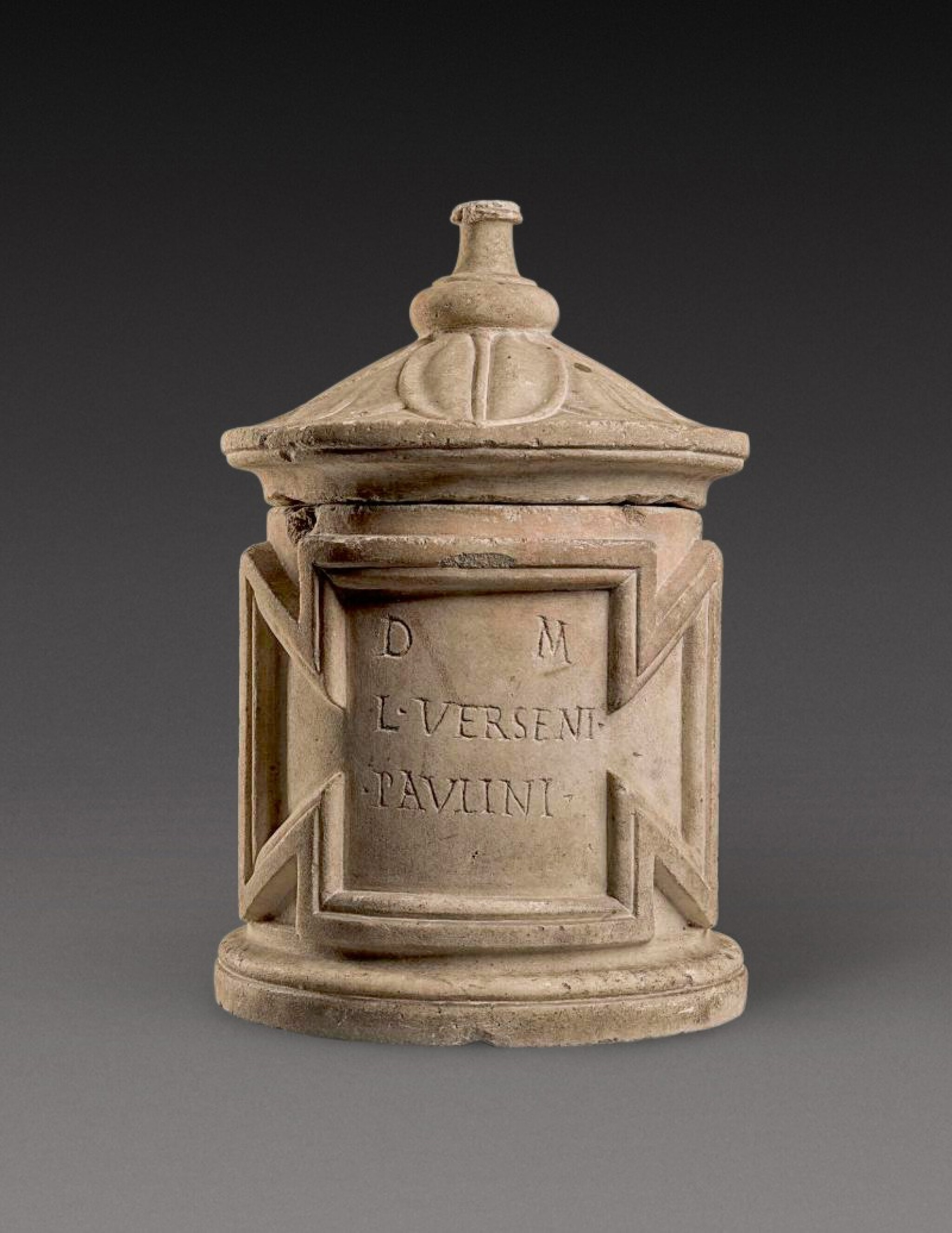 View 1 of Lot 63. A Roman Marble Cinerary Urn inscribed for Lucius Versenus Paulinus, 1st/2nd Century A.D..