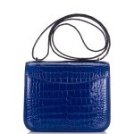 Hermès Bleu Electrique Mini Constance 18cm of Shiny Mississippiensis Alligator with Palladium Hardware