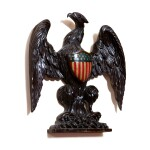 VERY FINE CARVED AND POLYCHROME PAINT-DECORATED WOOD CENTENNIAL SPREAD-WINGED AMERICAN EAGLE WITH SHIELD WALL PLAQUE, CIRCA 1840