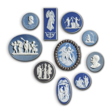 TEN WEDGWOOD JASPERWARE SMALL PLAQUES AND MEDALLIONS LATE 18TH AND 19TH CENTURY