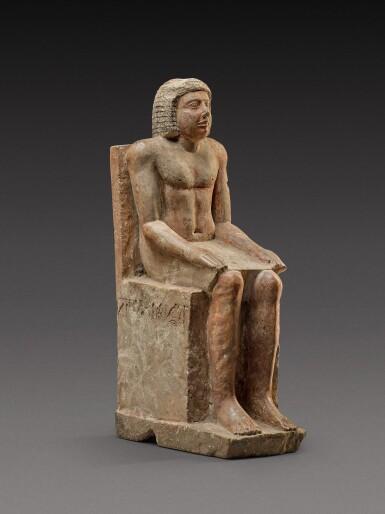 View 3. Thumbnail of Lot 54. An Egyptian Polychrome Limestone Figure of Hem-Min, 6th Dynasty, 2360-2195 B.C.  .