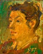 DAVID DAVIDOVICH BURLIUK | Triptych: The Artist's Family