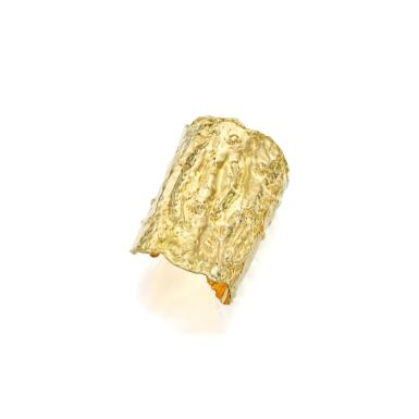 View full screen - View 1 of Lot 115. Van Cleef & Arpels | Gold 'Manchette' Cuff-Bracelet.