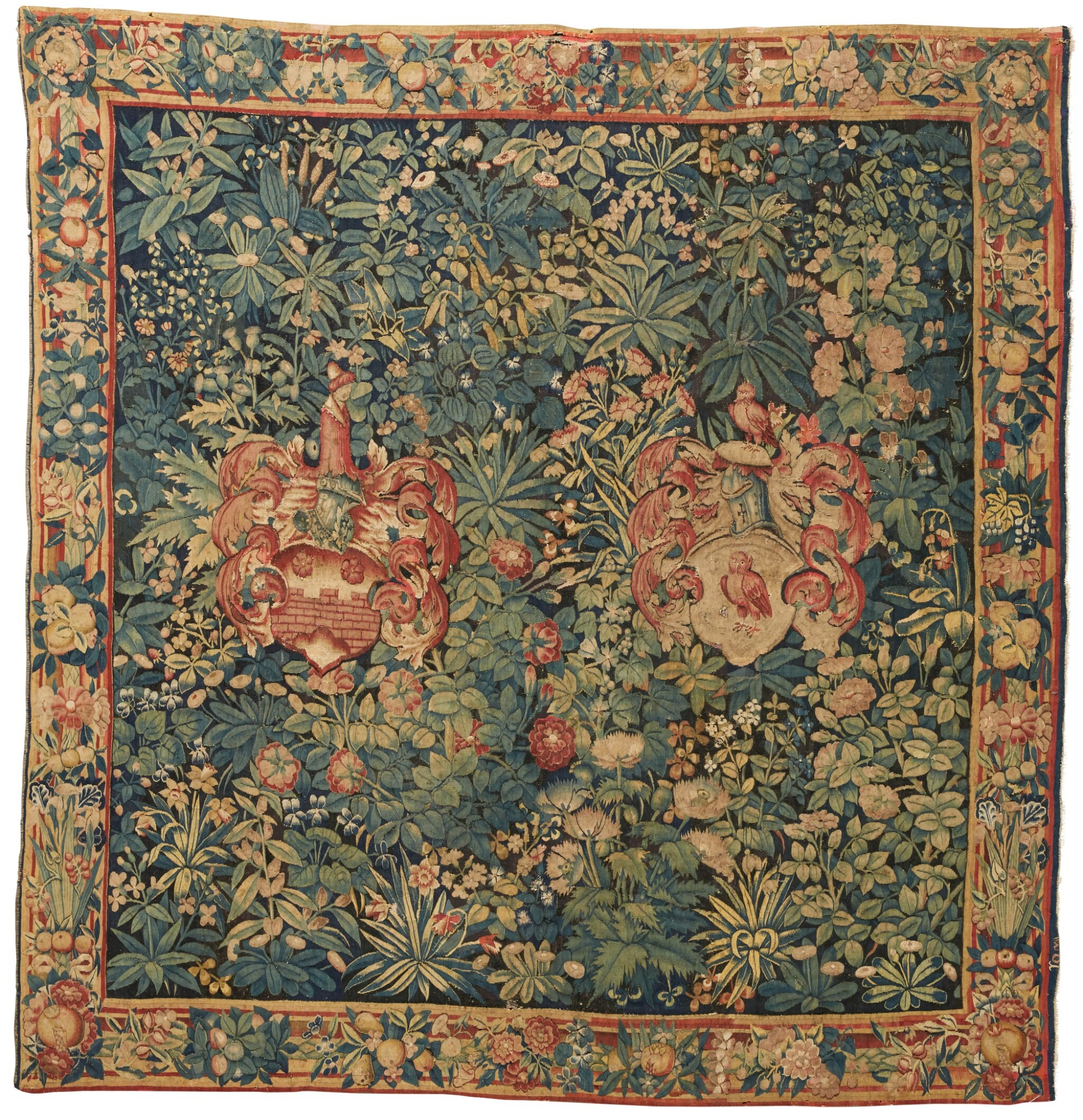 View full screen - View 1 of Lot 87. A Flemish Armorial and Millefleurs Tapestry, Southern Netherlands, first half 16th century.