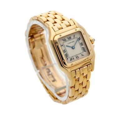 View 3. Thumbnail of Lot 23. Panthère  A yellow gold square shaped wristwatch with bracelet, Circa 1995 .