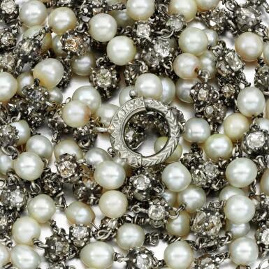 View 3. Thumbnail of Lot 32. Natural pearl and diamond long chain, circa 1900.