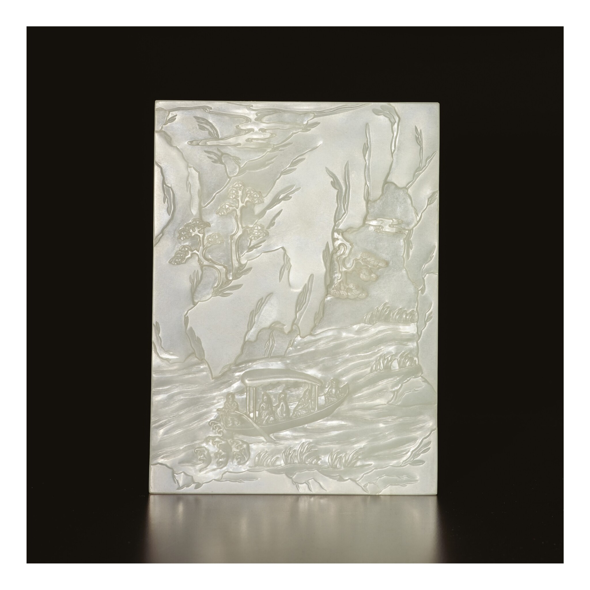 View 1 of Lot 686. AN EXCEPTIONAL WHITE JADE 'RED CLIFFS' TABLE SCREEN, QING DYNASTY, QIANLONG PERIOD.