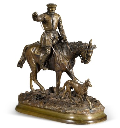 View 1. Thumbnail of Lot 291. Peasant on Horseback: a bronze figure, after the model by Evgeny Lansere (1848-1886), 1881.