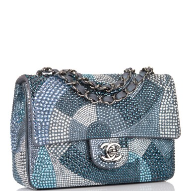 View 2. Thumbnail of Lot 31. Chanel Multicolor Strass Flap Bag of Swarovski Crystals and Grey Leather with Silver Tone Hardware.