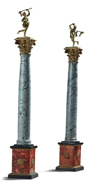 View 2. Thumbnail of Lot 139.  A PAIR OF NEOCLASSICAL GILT BRONZE AND GILT METAL-MOUNTED BARDIGLIO, PINK MARBLE AND BLACK SLATE CORINTHIAN COLUMNS TOPPED BY A PAIR OF GILT BRONZE MAENADS HOLDING THYRSI, 19TH CENTURY.