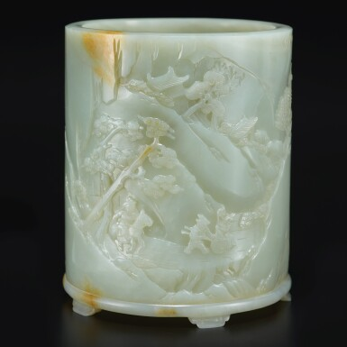 View 1. Thumbnail of Lot 14. An exceptional white and russet jade brushpot, Qing dynasty, Qianlong period   清乾隆 白玉雕進寶圖筆筒.