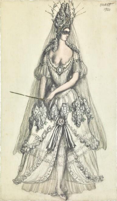 View 1. Thumbnail of Lot 71. Costume Design for the Lilac Fairy in La Belle au Bois Dormant.