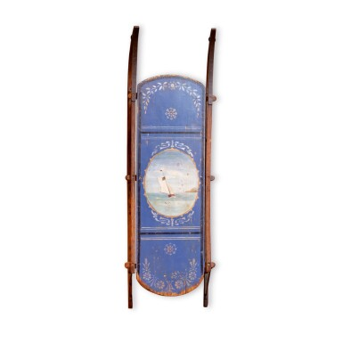 FINE CHILD'S BLUE AND POLYCHROME PAINT-DECORATED WOOD SLED, AMERICA, CIRCA 1880