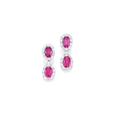 View 1. Thumbnail of Lot 402. PAIR OF PINK SAPPHIRE AND DIAMOND PENDANT-EARCLIPS | 粉紅色剛玉配鑽石吊耳環一對.