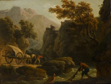 View 1. Thumbnail of Lot 197. CLAUDE-JOSEPH VERNET | Mountainous river landscape with two fishermen casting a net, and a man with his horse-drawn cart travelling along a sandy path.