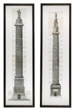 Francesco Piranesi (1756-1810), Two etchings of Roman columns, late 18th century