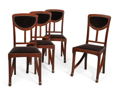 View 1. Thumbnail of Lot 160. A SET OF FOUR ART NOUVEAU MAHOGANY SIDE CHAIRS, CIRCA 1900, ATTRIBUTED TO EDOUARD DIOT, PROBABLY MADE BY MAISON DIOT OF PARIS.
