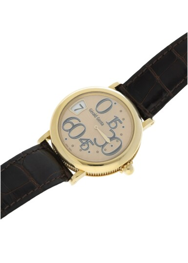 View 5. Thumbnail of Lot 71. GÉRALD GENTA   REFERENCE 3634  A YELLOW GOLD AUTOMATIC JUMP HOUR WRISTWATCH WITH RETROGRADE MINUTES, CIRCA 2005.