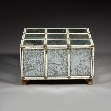 View 5. Thumbnail of Lot 137. A LARGE INDIAN MIRRORED AND ENGRAVED IVORY CASKET.