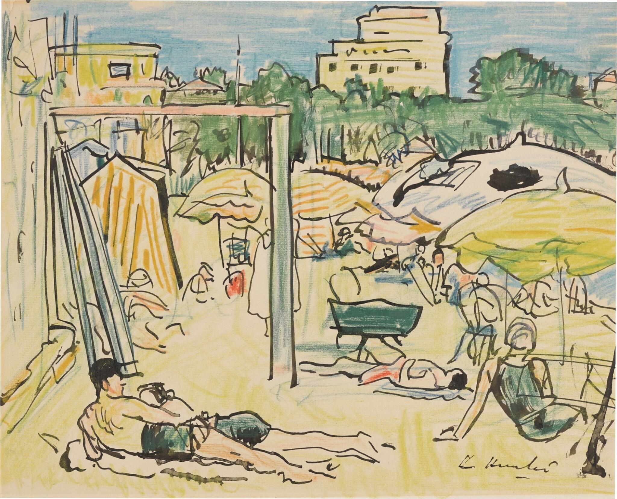 View full screen - View 1 of Lot 4. Plage à Juan-les-Pins.
