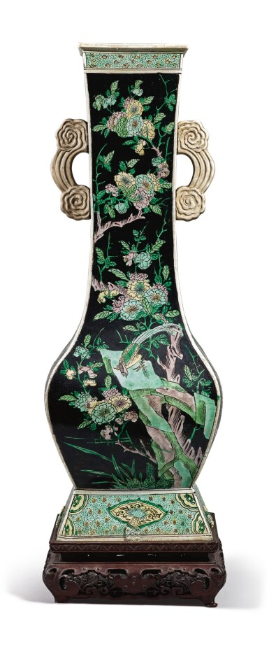 View 3. Thumbnail of Lot 1029.  A FAMILLE-NOIRE 'BIRD AND FLOWER' FANGHU-FORM VASE, QING DYNASTY, 19TH CENTURY.