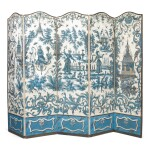 A LOUIS XV FIVE-FOLD BLUE AND WHITE CHINOISERIE WALLPAPER SCREEN, THE WALLPAPER 18TH CENTURY
