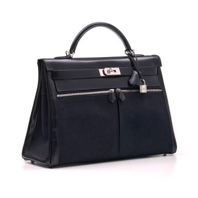 View 2. Thumbnail of Lot 332. Black Kelly Lakis 40cm in Toile and Box Leather with Palladium Hardware, 2008.