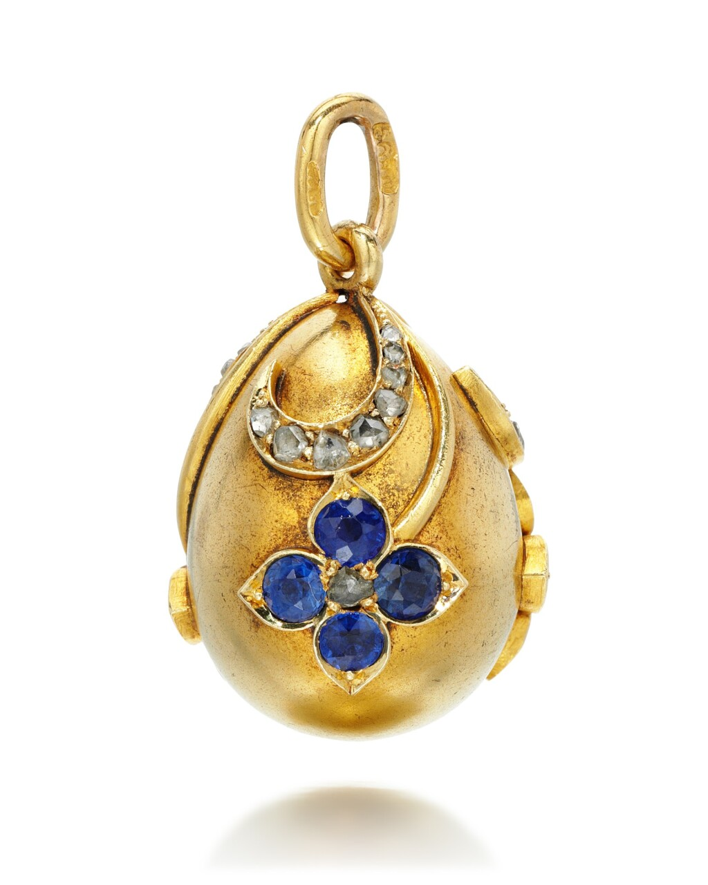 A JEWELLED GOLD EGG PENDANT, ST PETERSBURG, 1899-1903