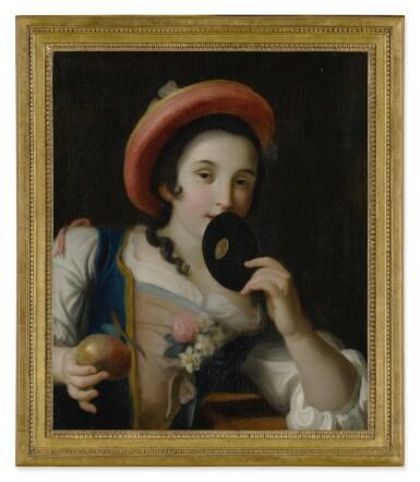 CIRCLE OF PIETRO ANTONIO ROTARI | A YOUNG WOMAN HOLDING A MASK