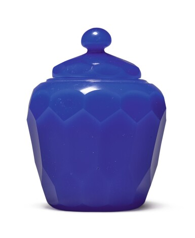 View 4. Thumbnail of Lot 1011. A FACETED ROYAL-BLUE GLASS JAR AND COVER, QING DYNASTY, 18TH CENTURY.